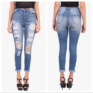 Cello Los Angeles High Rise Distressed Jeans Crop